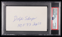"Dolph Schayes Signed 3x5 Index Card Inscribed ""HOF 73"" & ""Top 50"" (PSA Encapsulated) at PristineAuction.com"