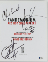"""Red Hot Chili Peppers """"Fandemonium"""" Softcover Book Band-Signed By (4) With Anthony Kiedis, Flea, Chad Smith & Josh Klinghoffer (Beckett LOA & Premiere Collectibles COA) at PristineAuction.com"""
