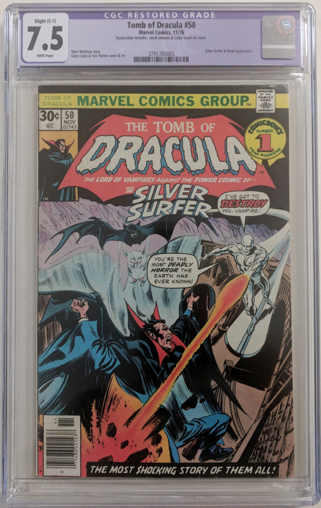 """1976 """"Tomb of Dracula"""" Issue #50 Marvel Comic Book (CGC Restored 7.5) at PristineAuction.com"""