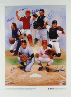 Hall Of Fame Catchers LE MLB 23x31 Lithograph On Canvas Signed by (6) with Carlton Fisk, Johnny Bench, Gary Carter, Yogi Berra (Beckett LOA) at PristineAuction.com