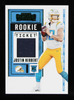 Justin Herbert Panini 2020 Contenders Green Foil Rookie Ticket Patch #RSV-JHE at PristineAuction.com