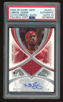 LeBron James 2005-06 SP Game Used Authentic Fabrics Autographs #LJ /100 (PSA Encapsulated) at PristineAuction.com