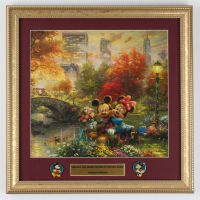 "Thomas Kinkade Walt Disney's ""Mickey & Minnie in Central Park"" 16x16 Custom Framed Print Display With (2) Pins (See Description) at PristineAuction.com"