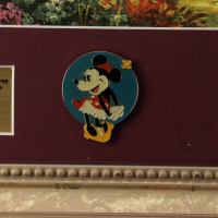 """Thomas Kinkade Walt Disney's """"Mickey & Minnie in Central Park"""" 16x16 Custom Framed Print Display With (2) Pins (See Description) at PristineAuction.com"""