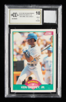 Ken Griffey Jr. 1989 Score Rookie / Traded #100T RC With Game-Used Jersey Swatch (BCCG 10) at PristineAuction.com