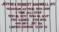 Jeff Bagwell Signed LE Astros 33.5x42 Custom Framed Career Hightlight Stat Jersey Display (TriStar Hologram) (See Description) at PristineAuction.com