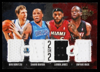 Dwyane Wade / LeBron James / Shawn Marion / Dirk Nowitzki 2014-15 Court Kings 2 on 2 Quad Memorabilia #QDAMI at PristineAuction.com