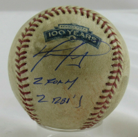 "David Ortiz Signed Game-Used 2012 Opening Day OML Baseball Inscribed ""2 For 4"" & ""2 RBI's"" (MLB Hologram) at PristineAuction.com"