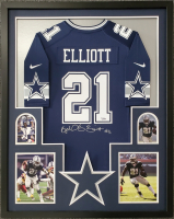 Ezekiel Elliott Signed 34x42 Custom Framed Jersey Display (Fanatics Hologram) at PristineAuction.com
