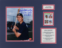"""Dale Murphy Signed Braves 14x18 Custom Matted Photo Display Inscribed """"2x NL MVP 82, 83"""" with 1977 Topps #476 Rookie Catchers Baseball Card (Stacks of Plaques COA) at PristineAuction.com"""