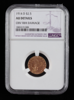 1914 D $2.50 Indian Head Quarter Eagle Gold Coin (NGC AU55) at PristineAuction.com