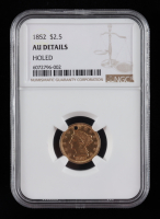 1852 $2.50 Liberty Head Quarter Eagle Holed Gold Coin (NGC AU) at PristineAuction.com