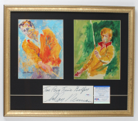 "LeRoy Neiman Signed 18x21 Custom Framed Cut Display Inscribed ""Two Big Time Golfers"" with (2) Neiman Prints (PSA COA) at PristineAuction.com"