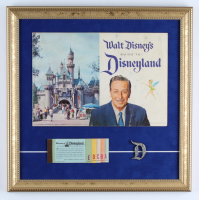 Vintage Disneyland 1959 16x16 Custom Framed Guide Book Display with Ticket Booklet & Disneyland Pin at PristineAuction.com