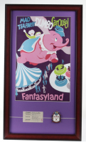 "Disneyland Fantasyland's ""Dumbo"" 15x26 Custom Framed Print Display with Vintage Original Ticket Book Envelope & Ride Lapel Pin at PristineAuction.com"