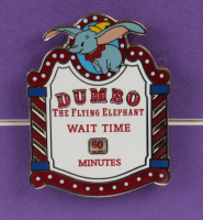 "Disneyland Fantasyland's ""Dumbo"" 15x26 Custom Framed Print Display with Vintage Original Ticket Book Envelope & Ride Lapel Pin at PristineAuction.com"