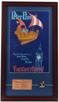 "Disneyland Fantasyland's ""Peter Pan"" 15x26 Custom Framed Print Display with Vintage 1960s ""D"" Ride Adult Ticket & Peter Pan Lapel Pin at PristineAuction.com"
