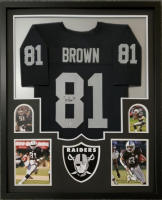 Tim Brown Signed 34x42 Custom Framed Jersey Display (Beckett COA) at PristineAuction.com