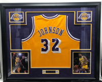 Magic Johnson Signed 35x42 Custom Framed Jersey Display (PSA COA) at PristineAuction.com