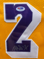 Magic Johnson Signed 35x42 Custom Framed Jersey Display (PSA COA) at PristineAuction.com