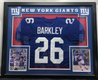 Saquon Barkley Signed 35x42 Custom Framed Jersey (JSA COA) at PristineAuction.com