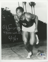 "O. J. Simpson Signed USC 8x10 Photo Inscribed ""4x100 WR 38.6"" & ""6/17/67"" (Beckett COA & Autograph Reference Hologram) at PristineAuction.com"