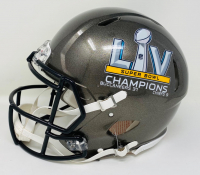 """Tom Brady Signed Buccaneers Super Bowl LV Full-Size Authentic On-Field Speed Helmet Inscribed """"SB LV Champs"""" (Fanatics Hologram) at PristineAuction.com"""