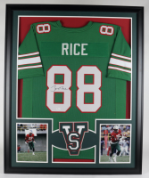 Jerry Rice Signed 35x43 Custom Framed Jersey (JSA COA) at PristineAuction.com