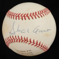 Hank Aaron Signed LE ONL Career Stat Engraved Baseball (PSA COA) (See Description) at PristineAuction.com