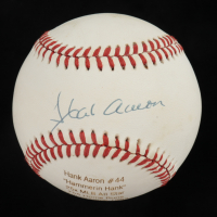 Hank Aaron Signed LE ONL Career Stat Engraved Baseball (PSA COA) (See Description) at PristineAuction.com