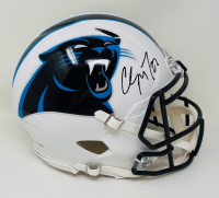 Christian McCaffrey Signed Panthers Full-Size Authentic On-Field Matte White Speed Helmet (Fanatics Hologram) at PristineAuction.com