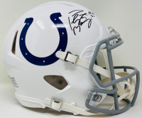 "Peyton Manning Signed Colts Full-Size Authentic On-Field Speed Helmet Inscribed ""HOF 21"" (Fanatics Hologram) at PristineAuction.com"