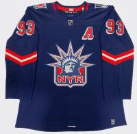 Mika Zibanejad Signed Rangers Jersey (Fanatics Hologram) at PristineAuction.com