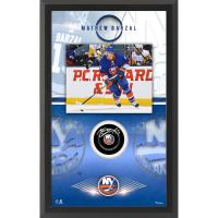 Mathew Barzal Signed Islanders 15.5x25.5 Custom Framed Puck Shadowbox Display (Fanatics Hologram) at PristineAuction.com