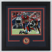 Lamar Miller Signed Texans 16.5x16.5 Custom Framed Photo Display with Texans Medal (JSA COA) at PristineAuction.com