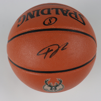 Giannis Antetokounmpo Signed Bucks Logo Basketball (Schwartz COA) at PristineAuction.com