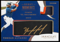 Yordan Alvarez 2020 Immaculate Collection Debut Moments Memorabilia Leather Autographs Gold Ink Black #35 #06/10 at PristineAuction.com