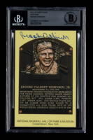 Brooks Robinson Signed Gold Hall of Fame Plaque Postcard (BGS Encapsulated) at PristineAuction.com