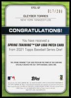 Gleyber Torres 2021 Topps Spring Training Cap Logos Black #STCLGT #017/299 at PristineAuction.com