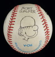 Famous Comic Character Artists Multi Signed OAL Baseball with Display Case Signed by (4) with Mort Walker, John Cullen Murphy, Tom Wilson, & Hank Ketcham (PSA LOA) at PristineAuction.com