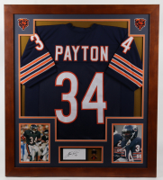 Walter Payton Signed 33.5x37.5 Custom Framed Cut Display (PSA) at PristineAuction.com