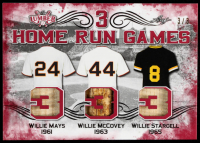 Willie Mays / Willie McCovey / Willie Stargell 2021 Leaf Lumber 3 Home Run Games Red #3HRG04 #3/3 at PristineAuction.com