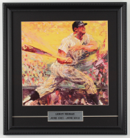 "Leroy Neiman ""Mickey Mantle"" 15x16 Custom Framed Print Display at PristineAuction.com"