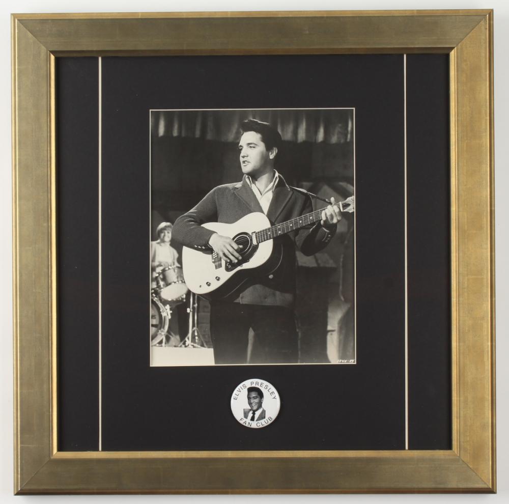 Elvis Presley 16.5x16.5 Custom Framed Vintage Original Photo Display with Vintage Fan Club Lapel Pin at PristineAuction.com