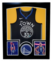 """Stephen Curry Signed Warriors 32x41 Custom Framed """"The Town"""" Jersey Display with LED Lights (Fanatics Hologram) at PristineAuction.com"""