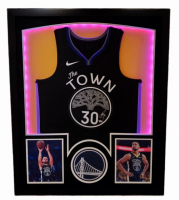 "Stephen Curry Signed Warriors 32x41 Custom Framed ""The Town"" Jersey Display with LED Lights (Fanatics Hologram) at PristineAuction.com"