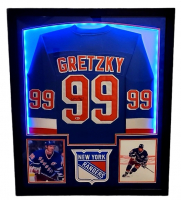 Wayne Gretzky Signed Rangers 32x41 Custom Framed Jersey Display with LED Lights (Beckett Hologram) at PristineAuction.com