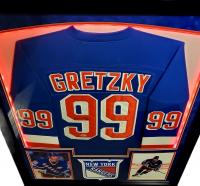 Wayne Gretzky Signed Rangers 32x41 Custom Framed Jersey Display with LED Lights (Beckett Hologram) at PristineAuction.com
