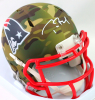 Tom Brady Signed Patriots Camo Alternate Speed Mini Helmet (Fanatics LOA) at PristineAuction.com