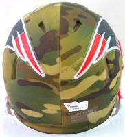 Tom Brady Signed Patriots Camo Alternate Speed Mini Helmet (Fanatics LOA) at PristineAuction.com
